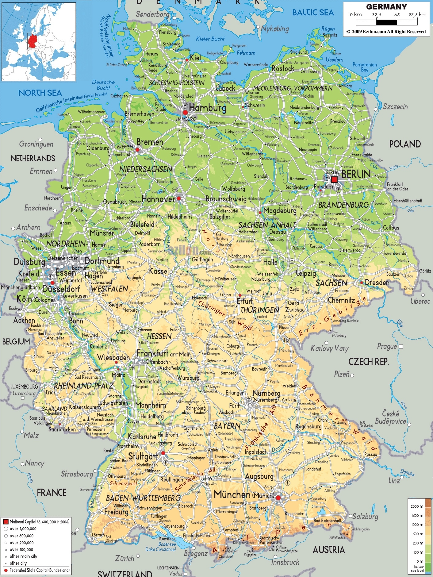 Large Physical Map Of Germany With Roads, Cities And Airports in Germany On World Map Physical