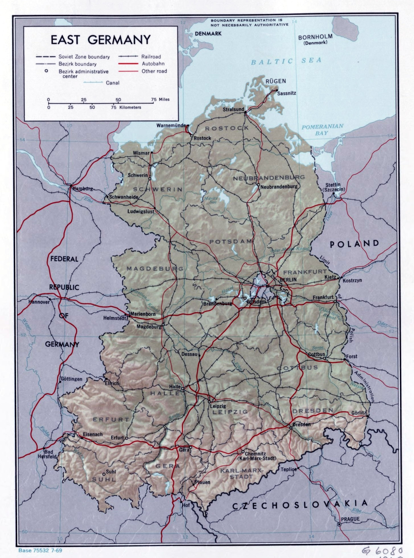Large Political And Administrative Map Of East Germany With Relief with East Germany Map Cities