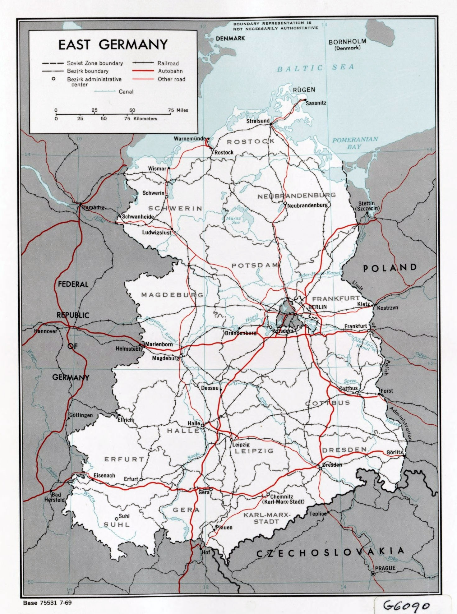 Large Political And Administrative Map Of East Germany With Roads inside East Germany Map