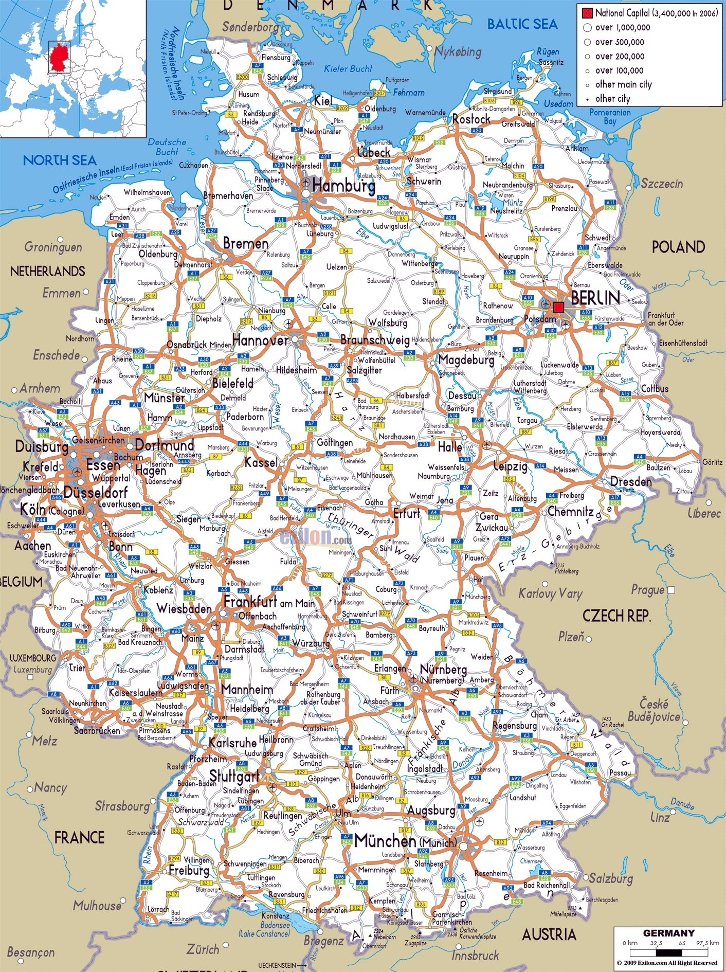 Large Road Map Of Germany With Cities And Airports | Germany for Germany Map With All Cities