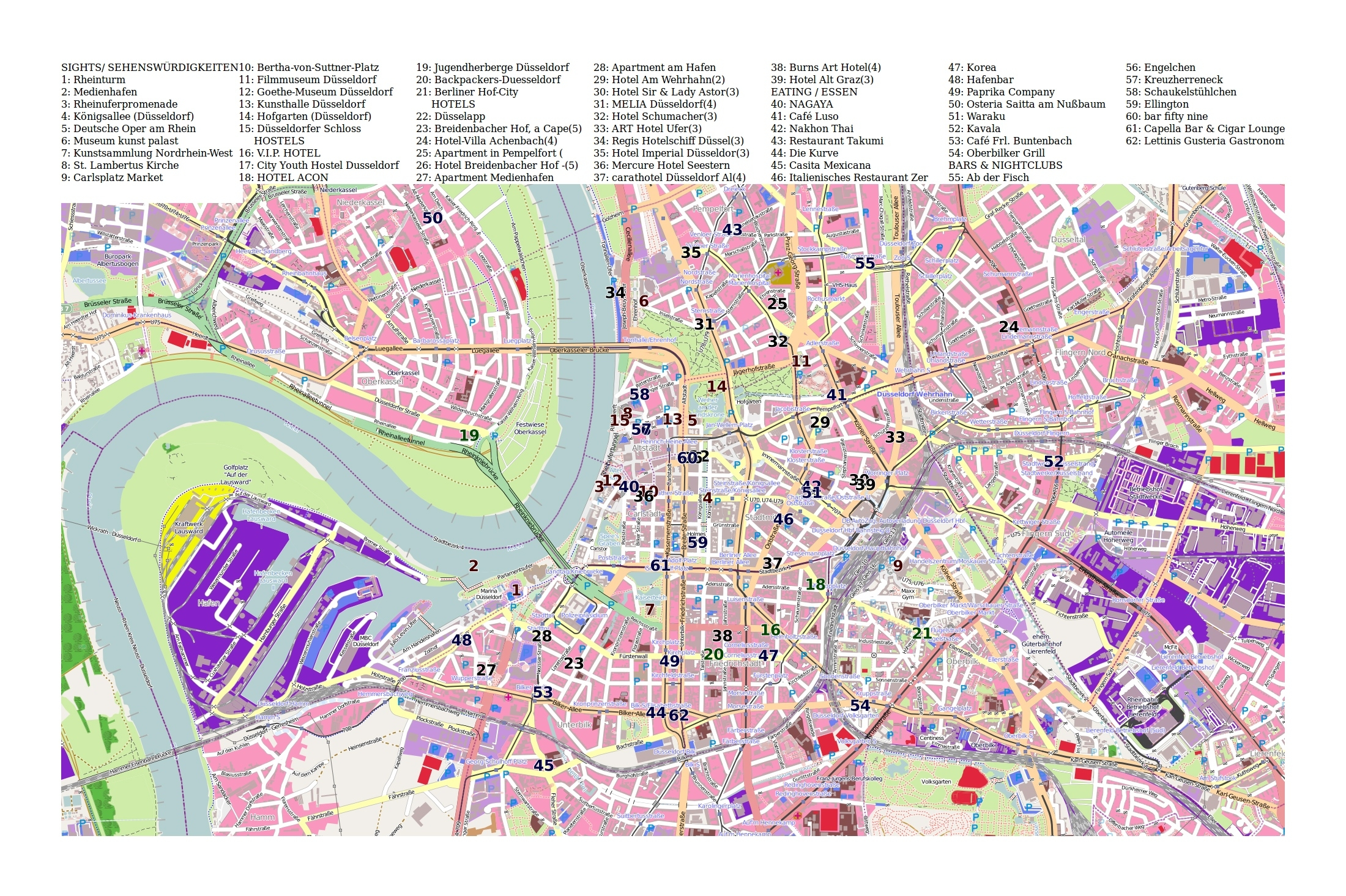 Large Tourist Map Of Dusseldorf   Dusseldorf   Germany   Europe with regard to Where Is Dusseldorf Germany On The Map
