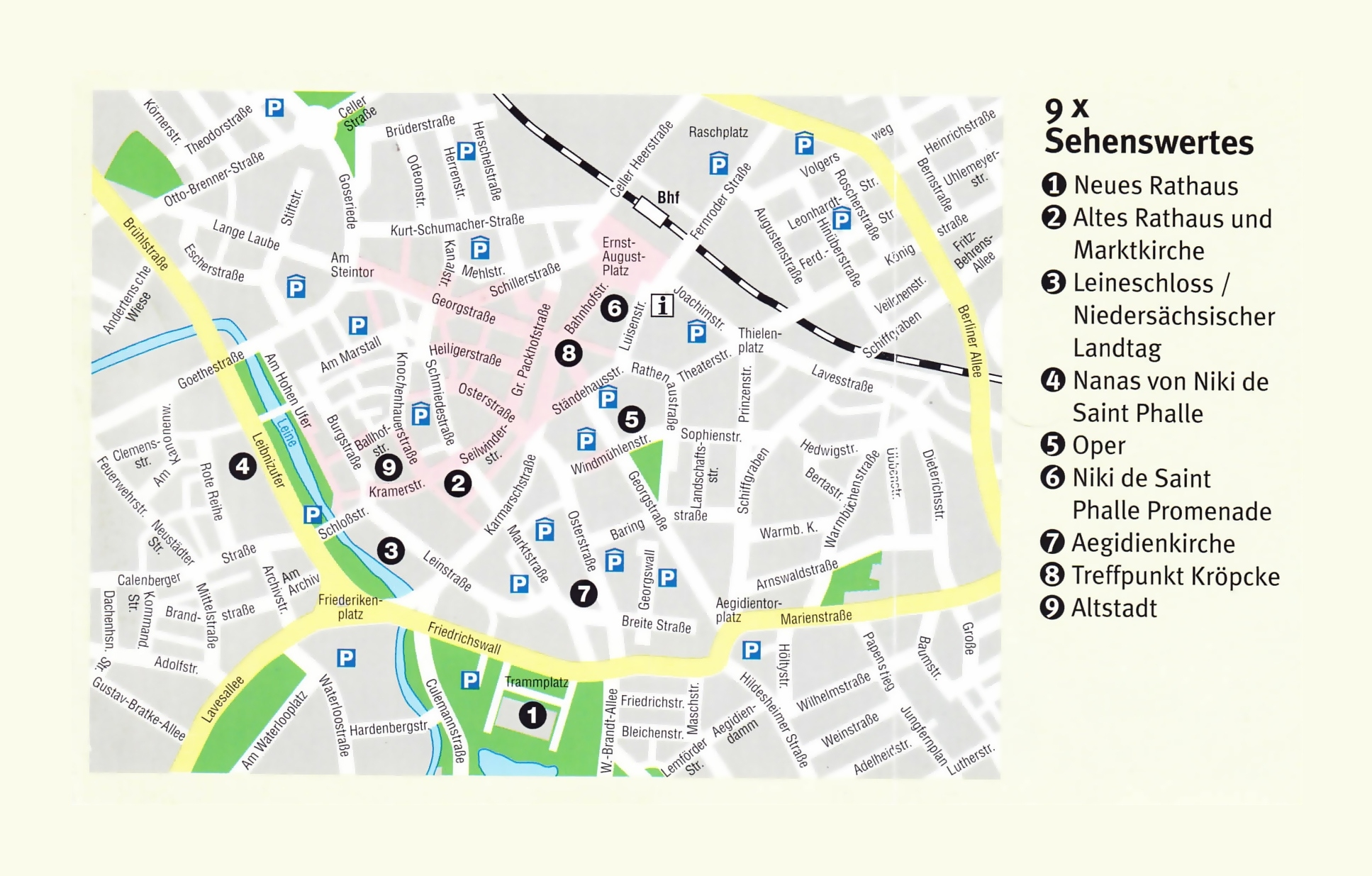 Large Travel Map Of Central Part Of Hannover City   Hannover in Hannover Germany Map