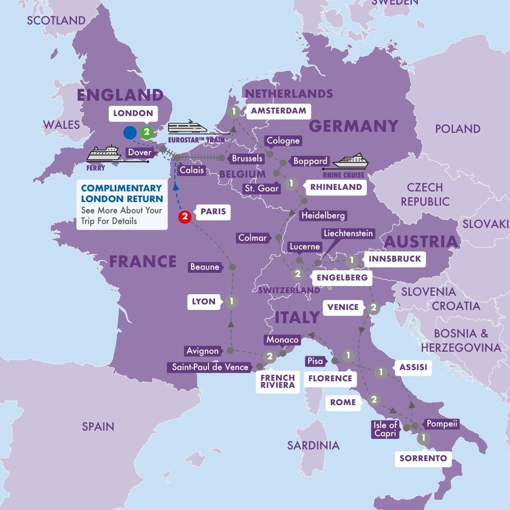 Low Unpublished Prices On Trafalgar - Traditional Europe Summer 2019 regarding Map Of France Germany Switzerland Austria And Italy
