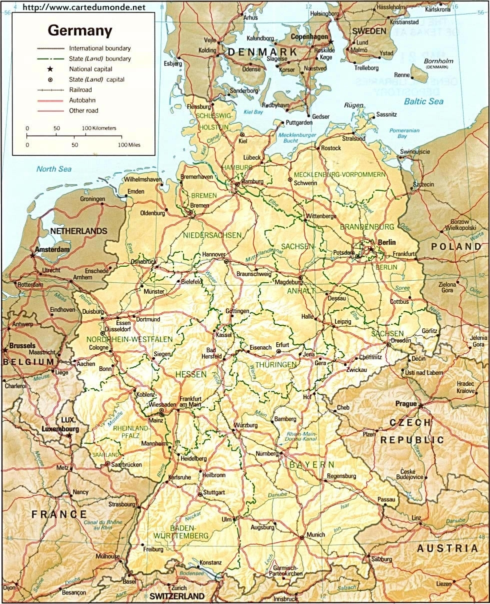 Map Germany, Country Map Germany in Map Of Germany To Print
