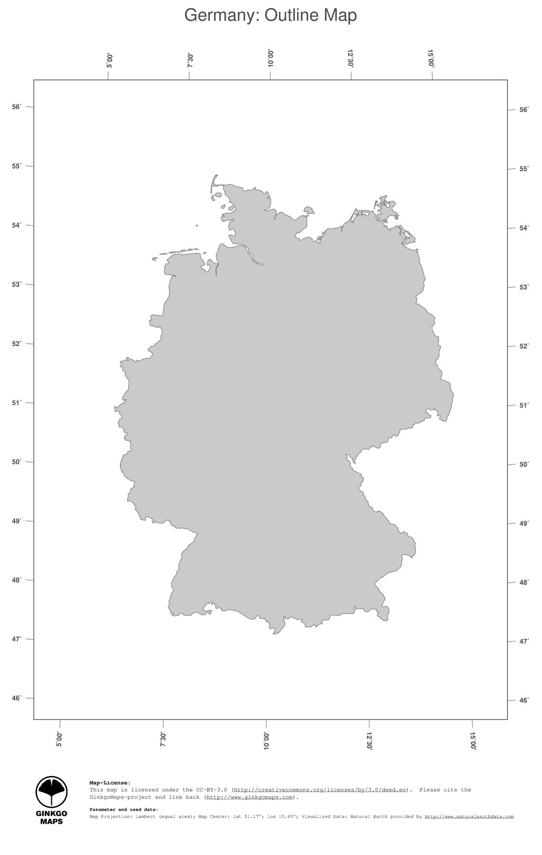 Map Germany; Ginkgomaps Continent: Europe; Region: Germany with Germany Country Map Outline