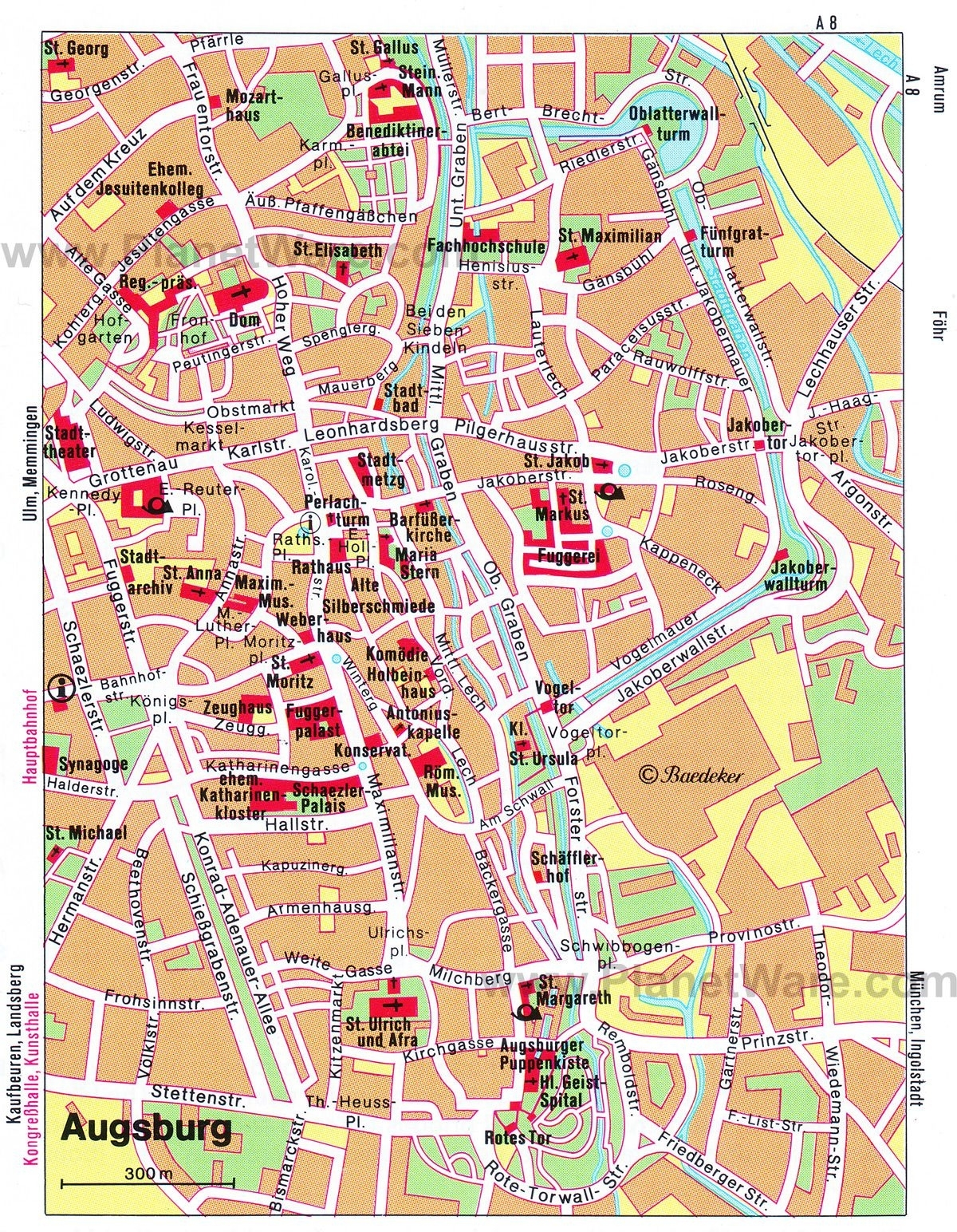 Map Of Augsburg Attractions   Planetware   Travel In 2019   Augsburg inside Augsburg Germany Map