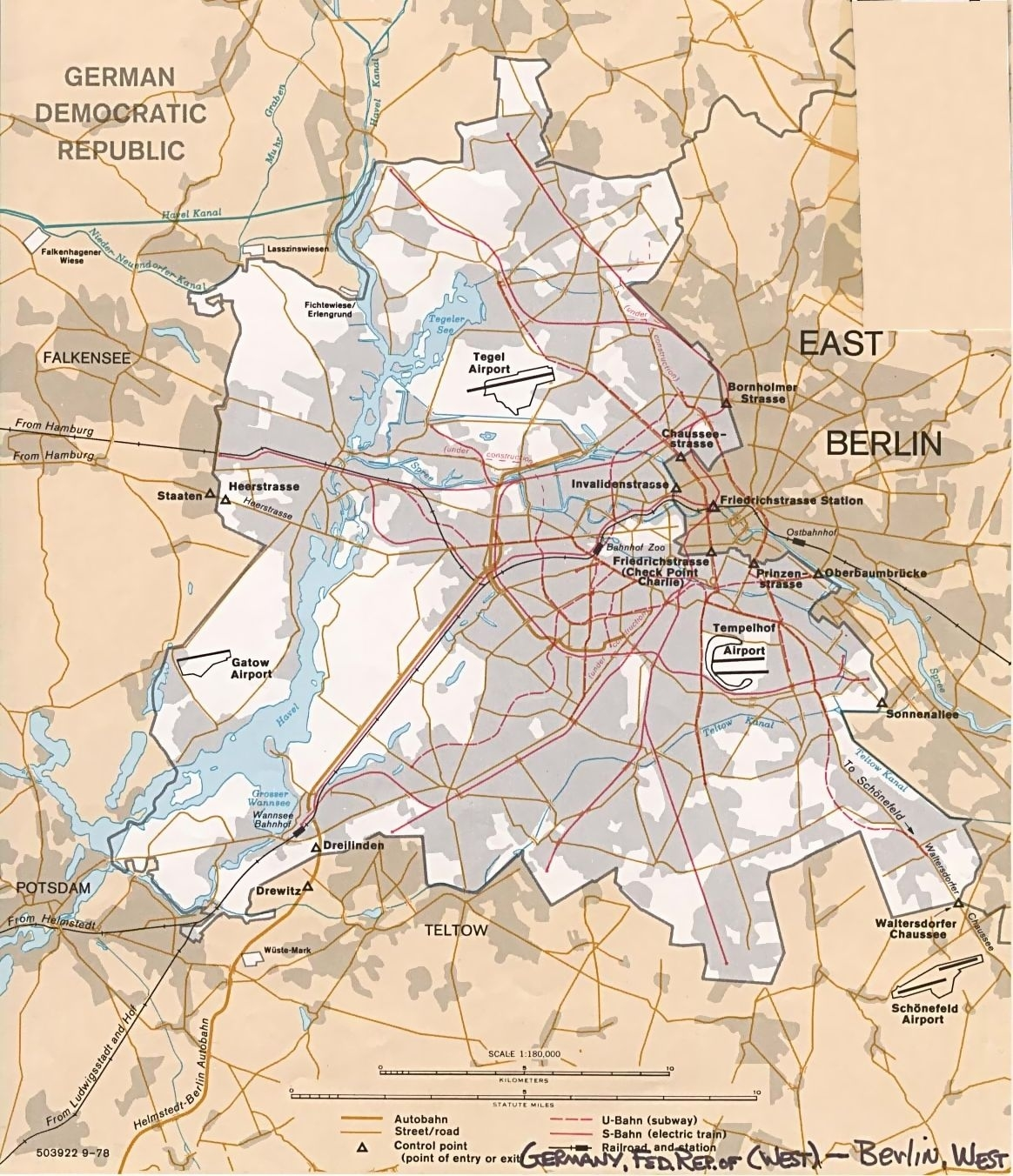 Map Of Berlin, East And West C 1989   Geography Nerd   Berlin, West with Berlin East Germany Map