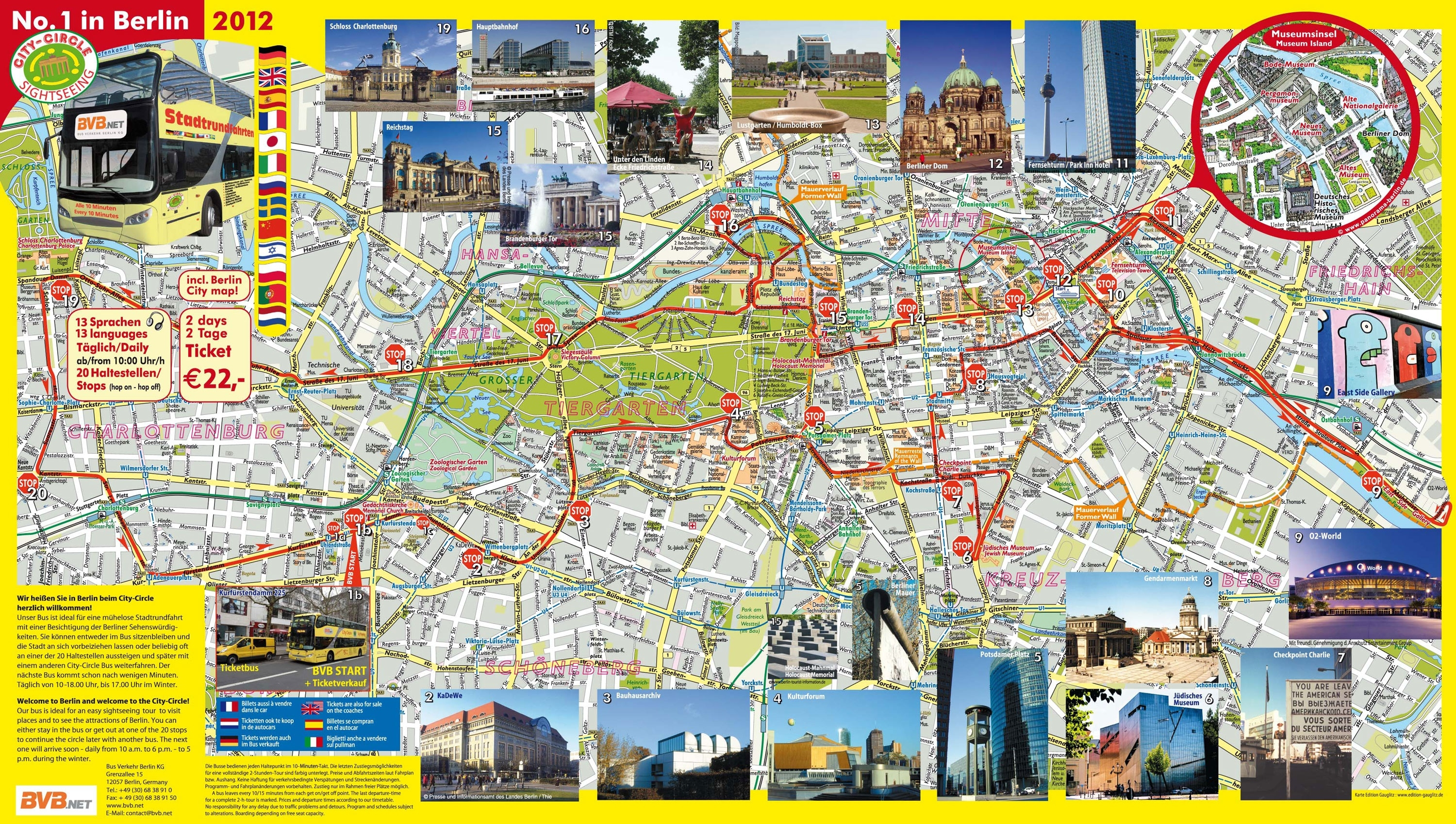 Map Of Berlin Tourist Attractions, Sightseeing & Tourist Tour for Berlin Germany Attractions Map