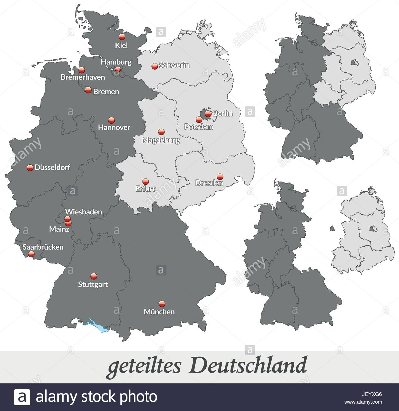 Map Of Divided Germany In Gray Stock Vector Art & Illustration regarding Divided Germany Map