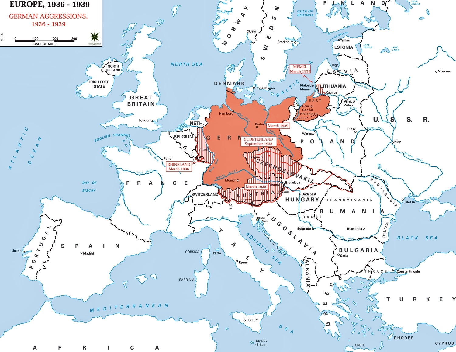 Map Of Europe 1936-1939 inside Map Of Germany After World War Ii