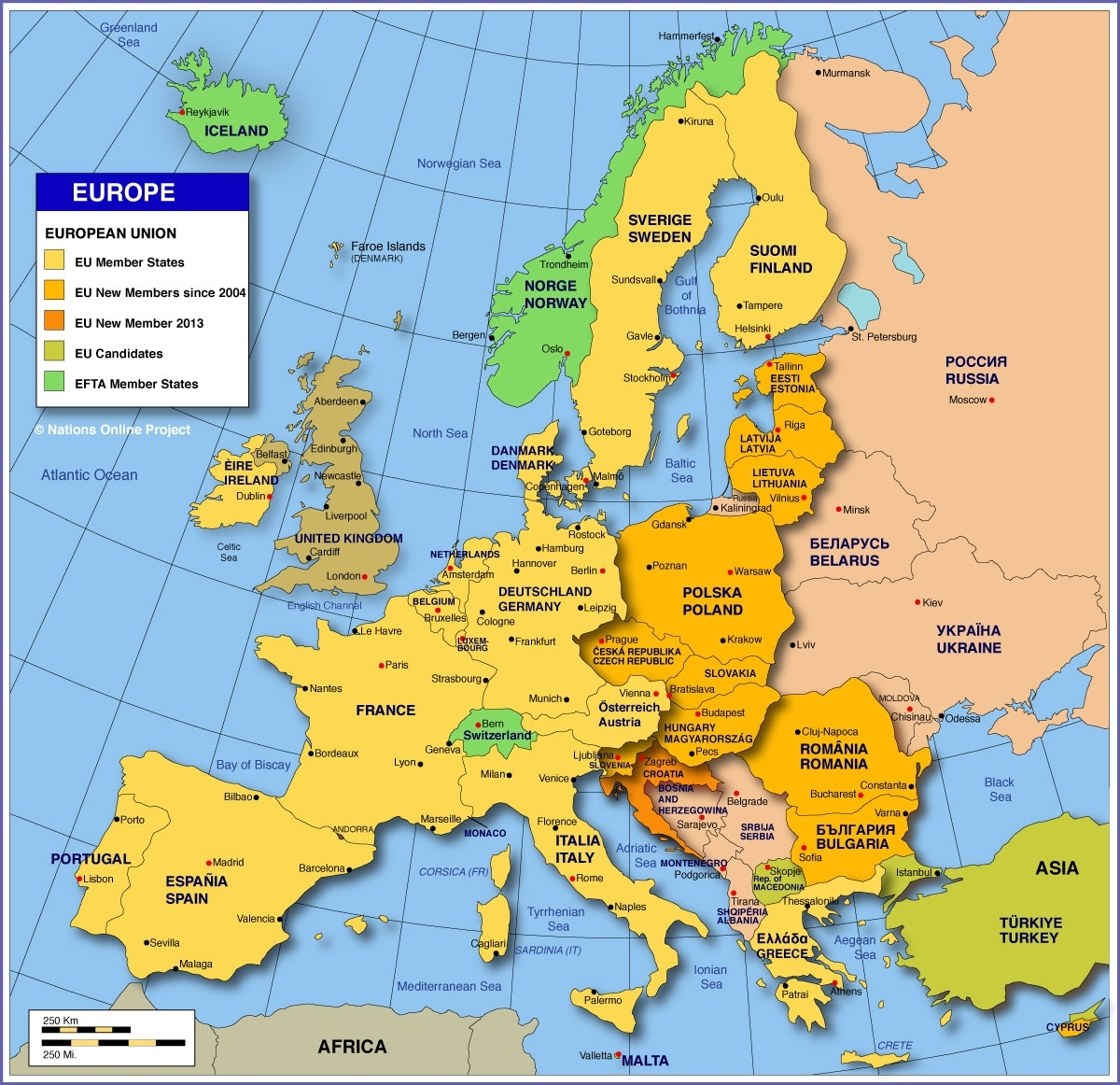 Map Of Europe - Member States Of The Eu - Nations Online Project with World Map Italy And Germany