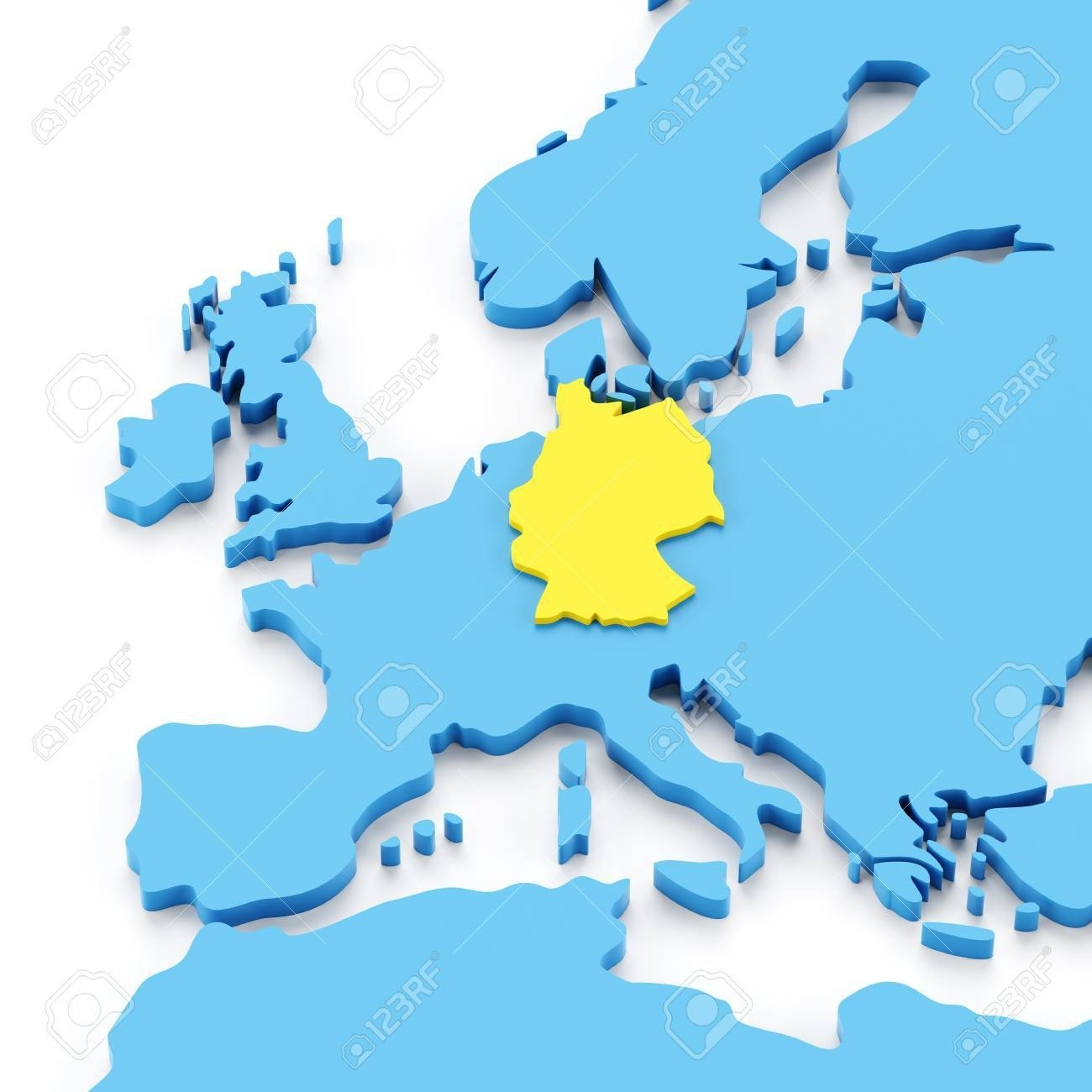 Map Of Europe With Germany Highlighted In Yellow, 3D Render in Europe Map With Germany Highlighted