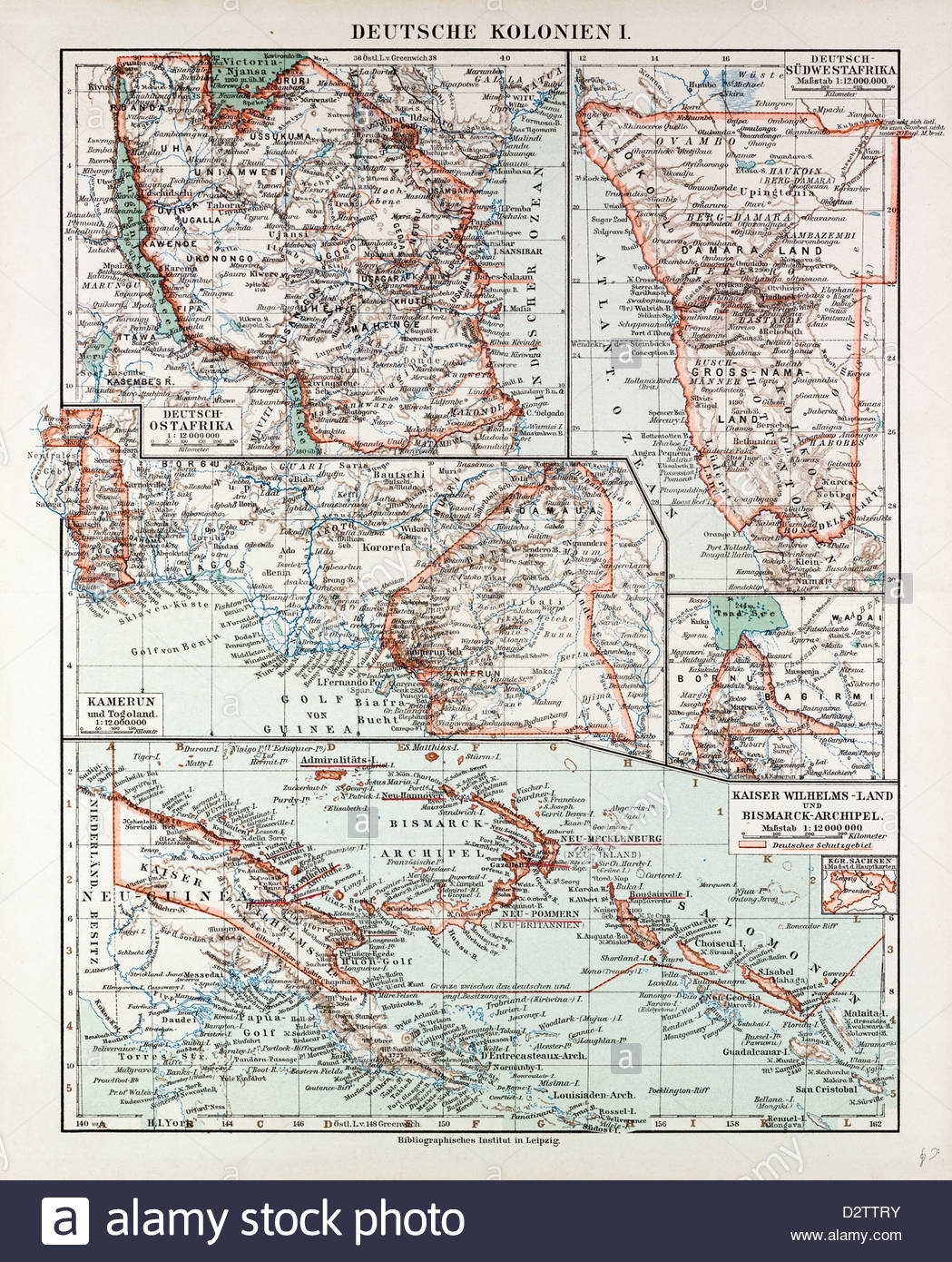 Map Of German Colonies German New Guinea Cameroon 1899 Stock Photo pertaining to German New Guinea Map