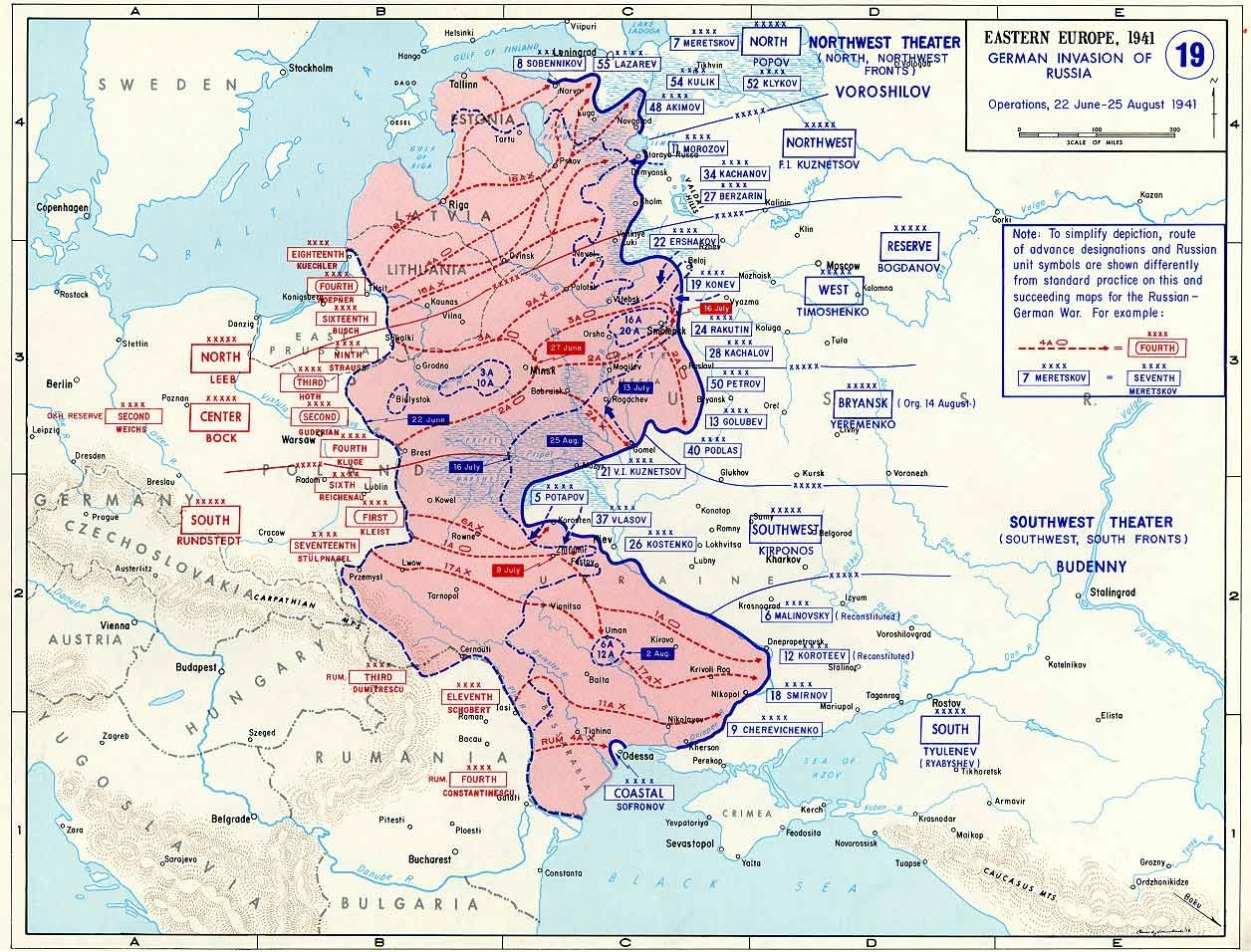 Map Of German Invasion Of Russia (June-August 1941) for Germany Ww2 Map