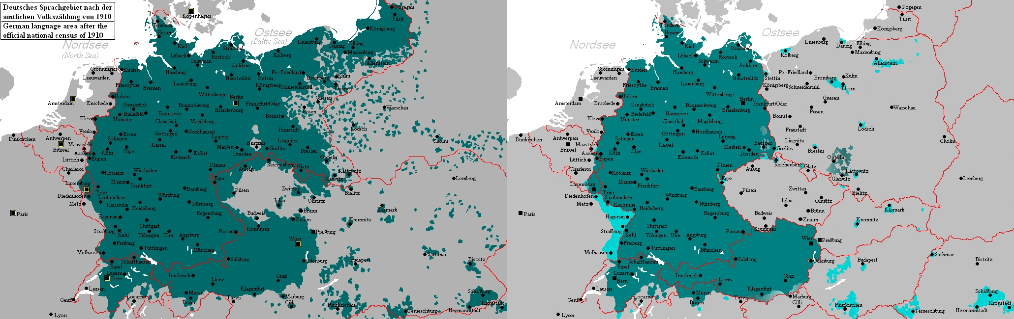 Map Of German-Speaking Areas In 1910 And After 1945 : Mapporn with German Speaking Countries Map
