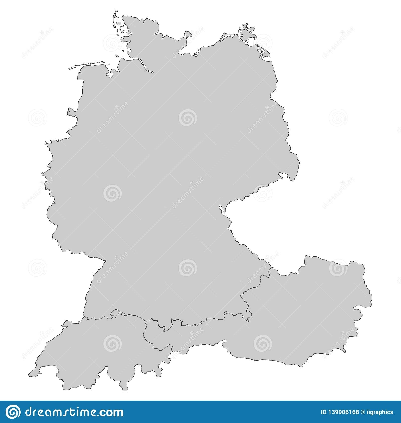 Map Of Germany, Austria And Switzerland Stock Illustration throughout Detailed Map Of Germany And Austria