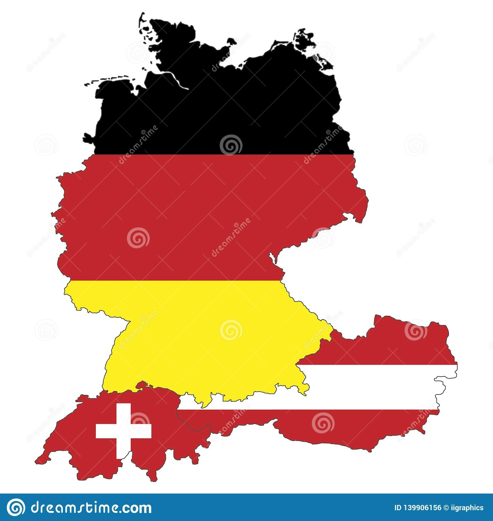 Map Of Germany, Austria And Switzerland Stock Illustration with regard to Detailed Map Of Germany And Austria
