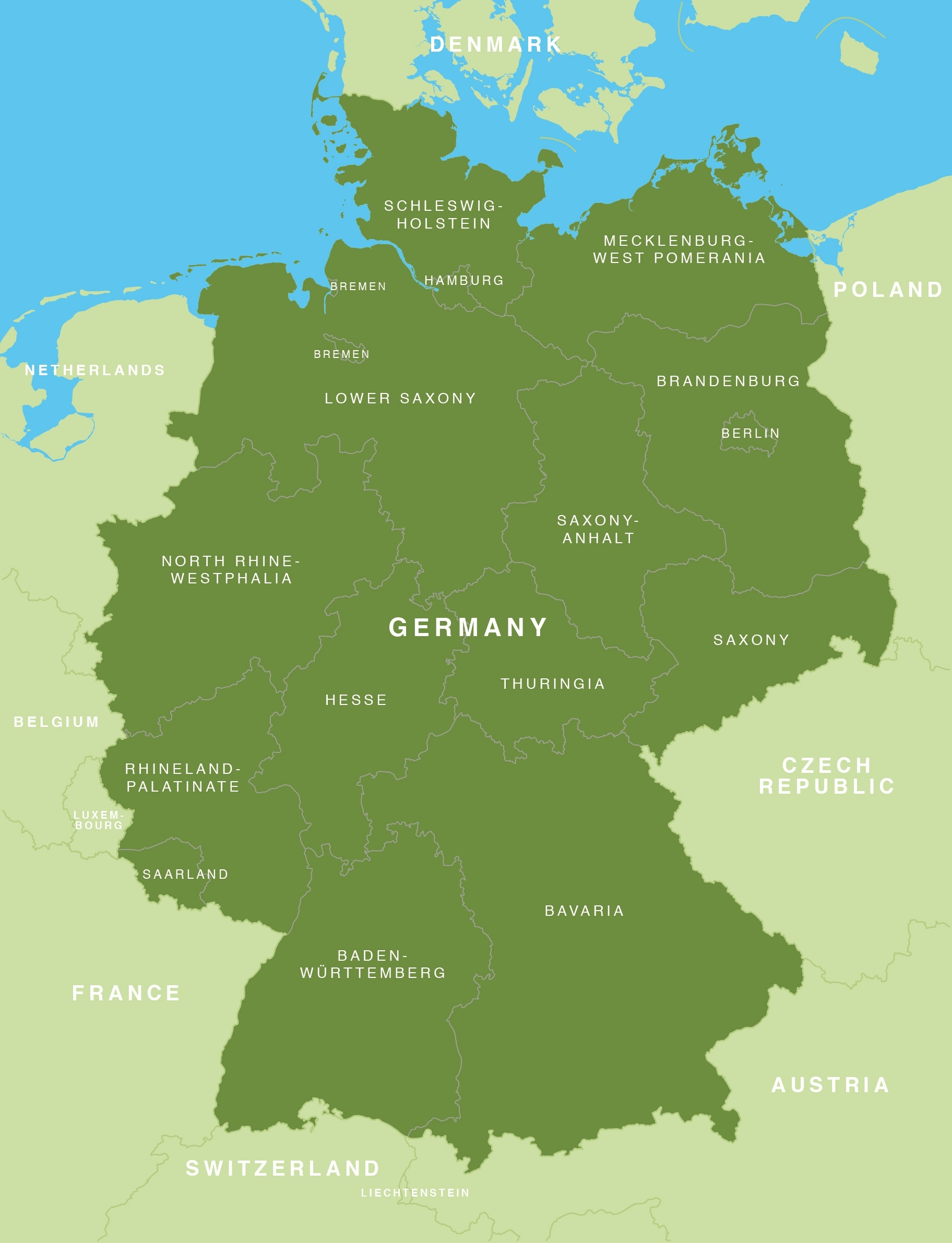 Map Of Germany - German States / Bundesländer - Maproom with regard to Germany Map By States