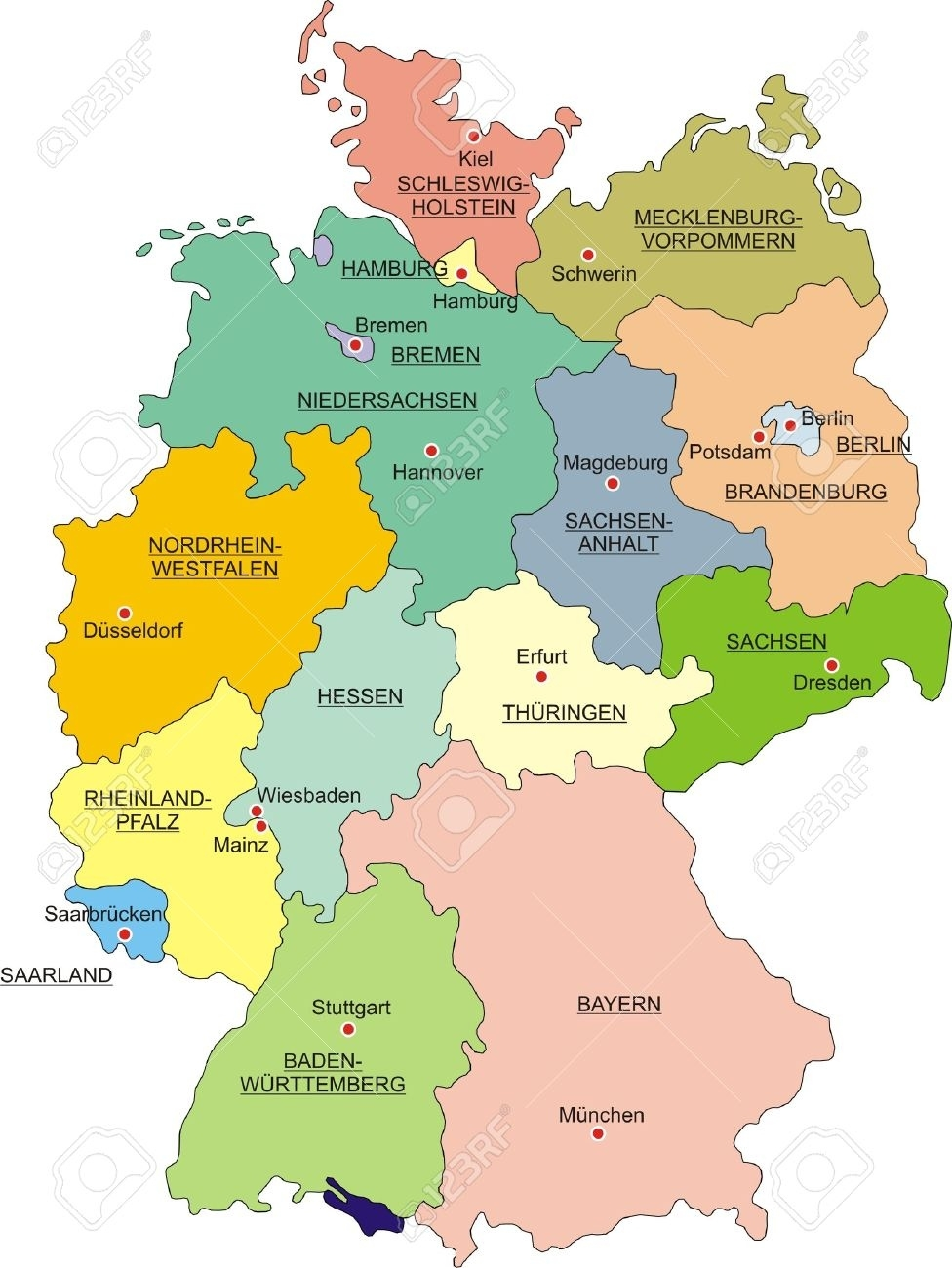 Map Of Germany, National Boundaries And National Capitals pertaining to German Map With States And Capitals