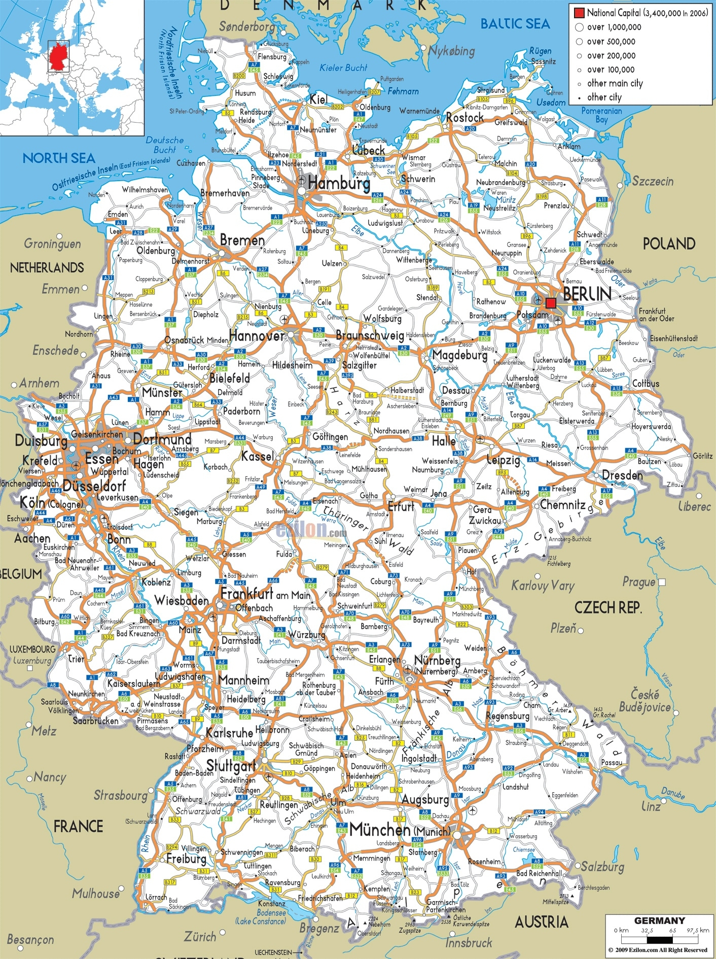 Map Of Germany Printable And Travel Information | Download Free Map within Printable Map Of Germany And Surrounding Countries
