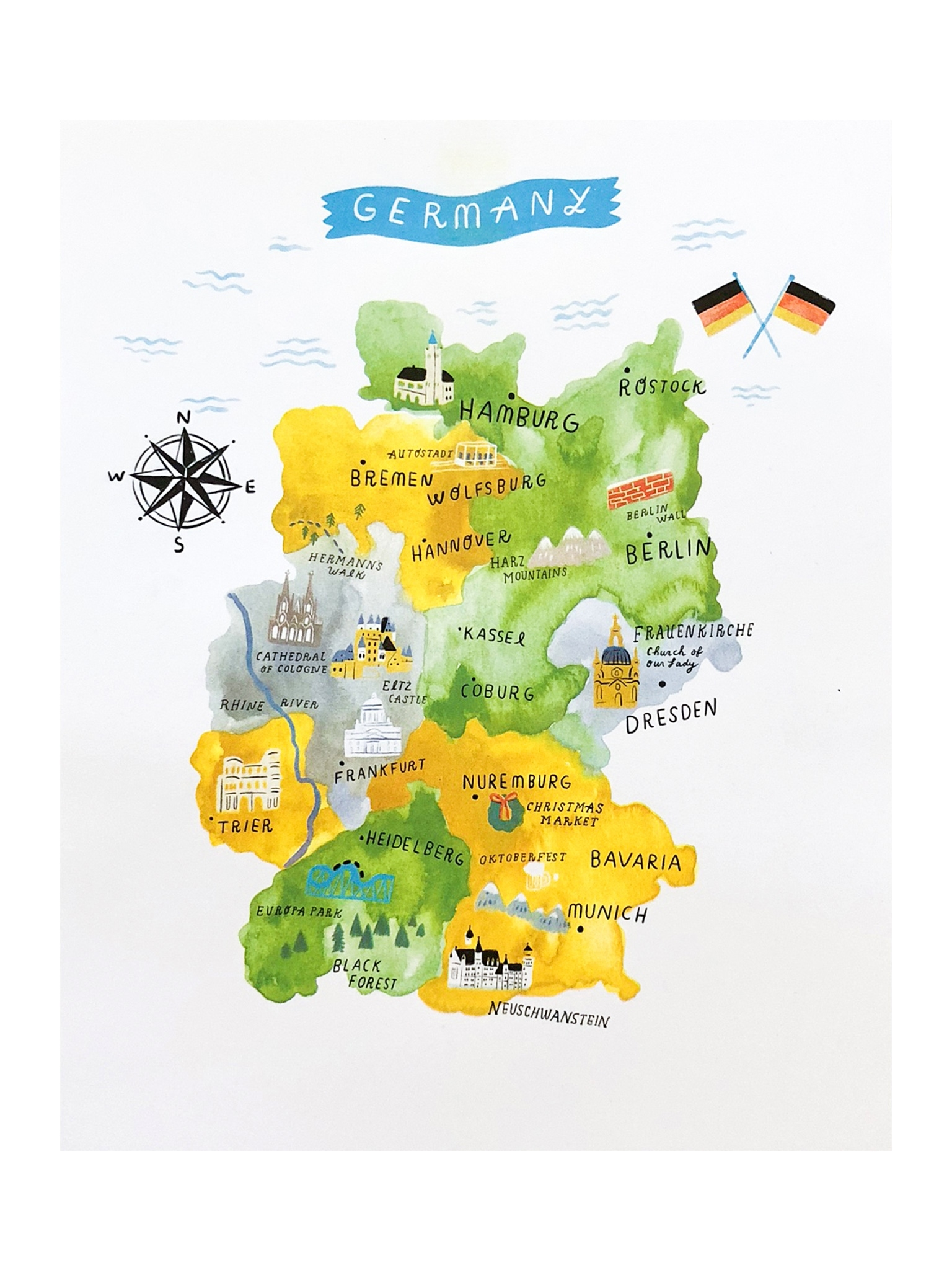 Map Of Germany Risograph Print for Map Of Germany To Print