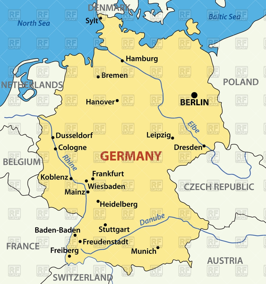 Map Of Germany Stock Vector Image within Germany Map Download