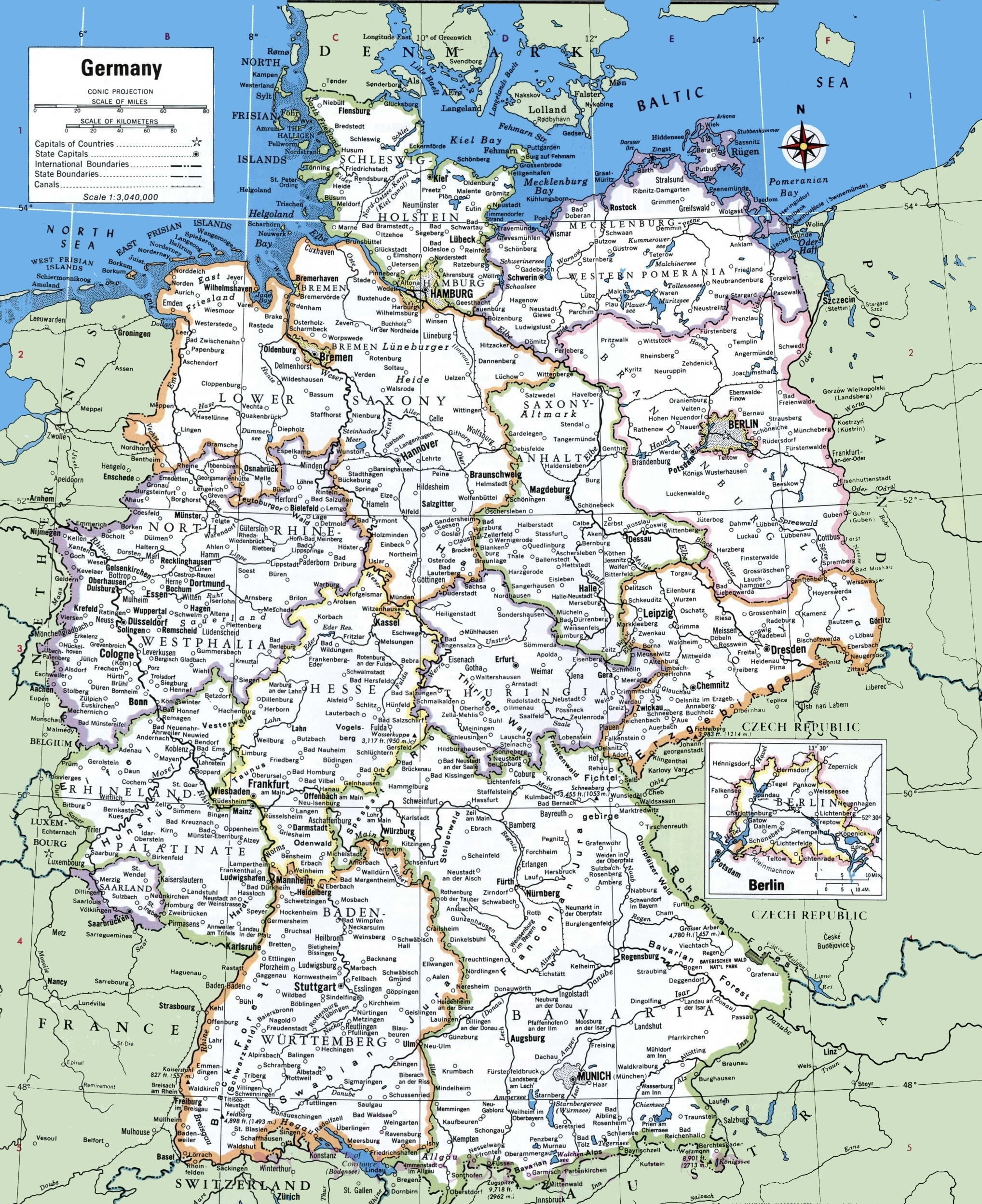 Map Of Germany With Cities And Towns inside Map Of Germany With Cities And Towns