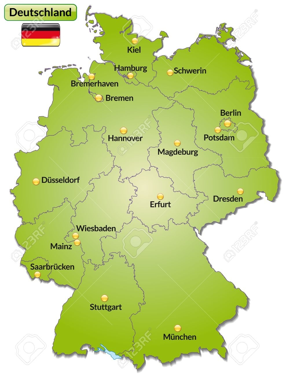 Map Of Germany With Main Cities In Green throughout Map Of Germany With Major Cities