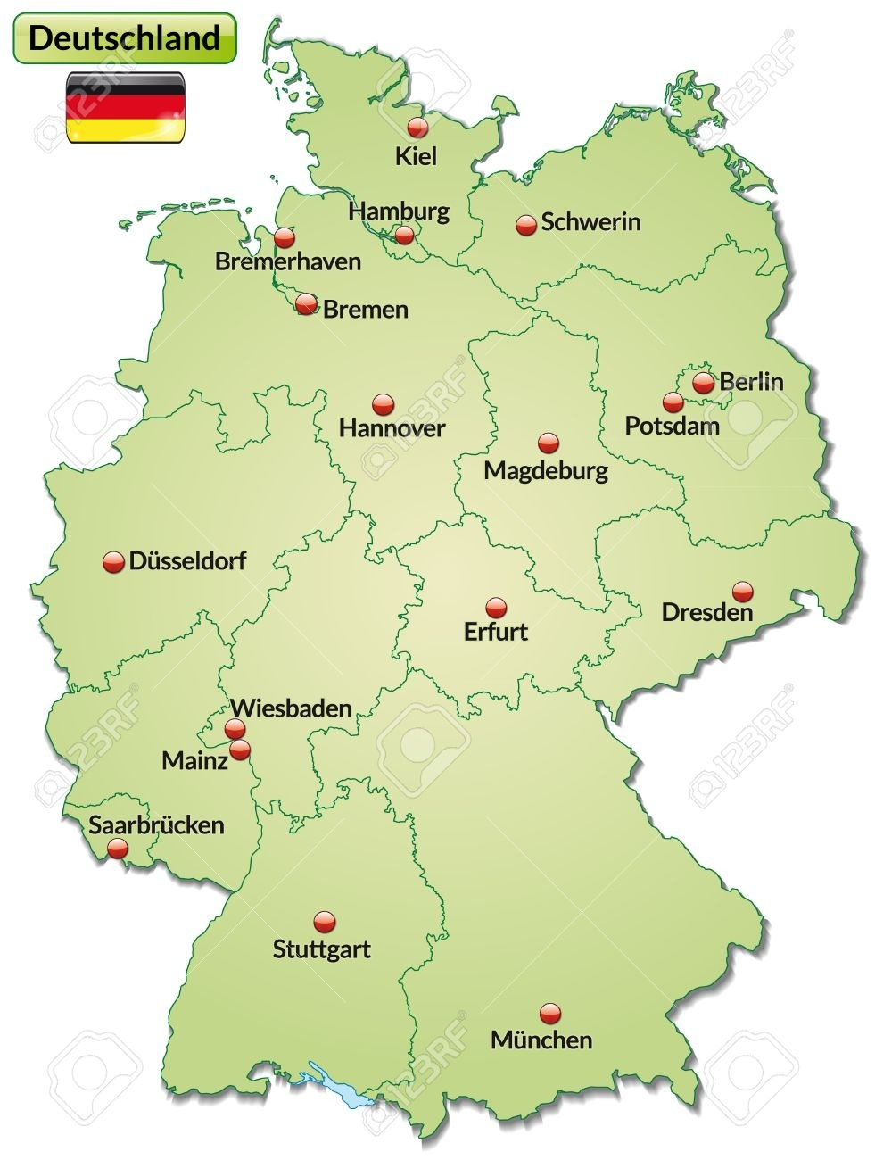 Map Of Germany With Main Cities In Pastel Green throughout Germany Map Main Cities