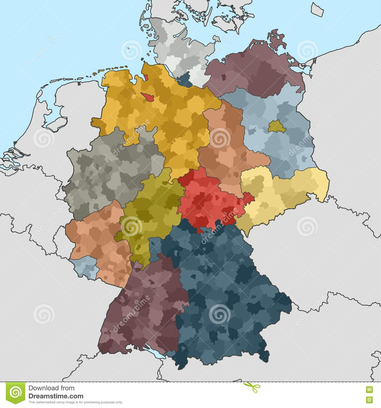 Map Of Germany With Neighboring Countries Stock Vector with Map Of Germany And Surrounding Countries