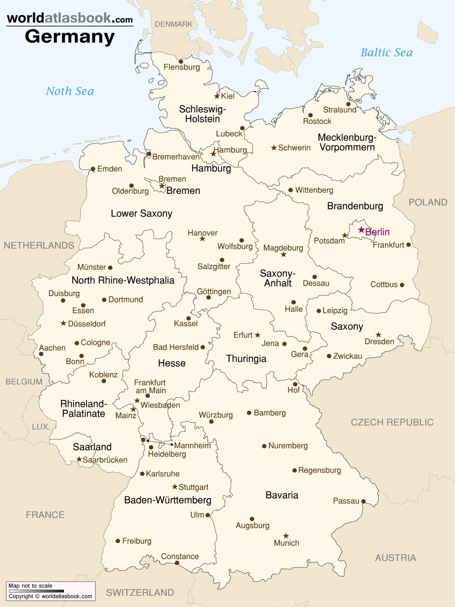 Map Of Germany With States And Cities   Germany   Map, Germany in Germany Map By States