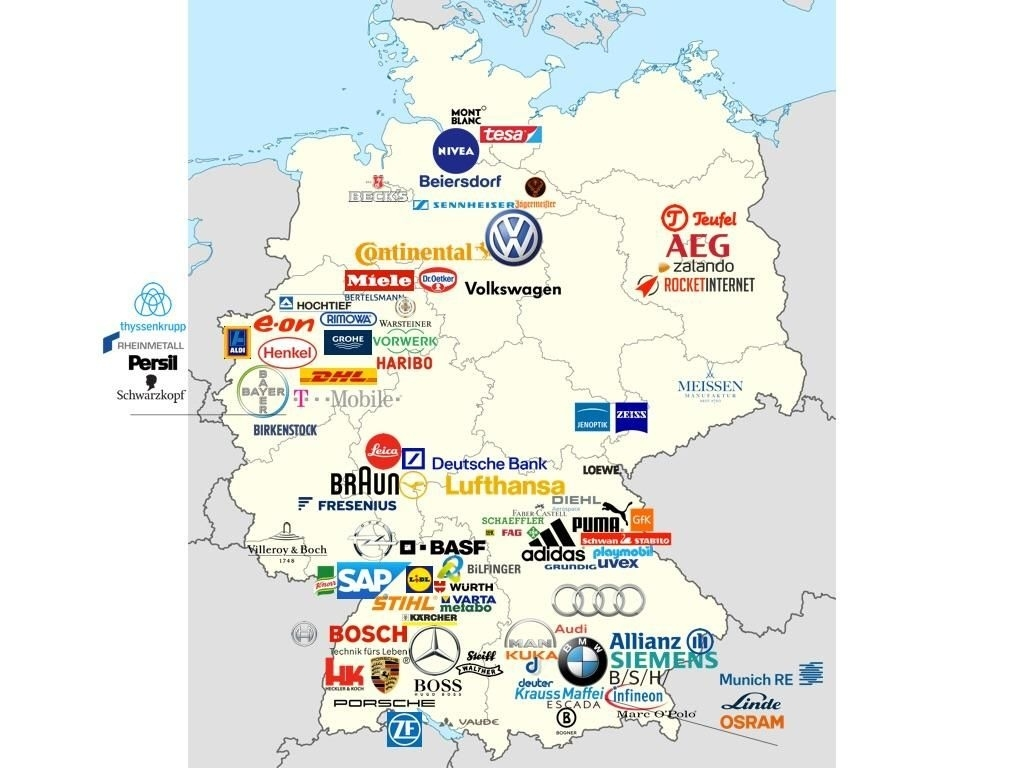Map Of Most Valuable German Brands   Business   German Language within Map Of Germany In German Language