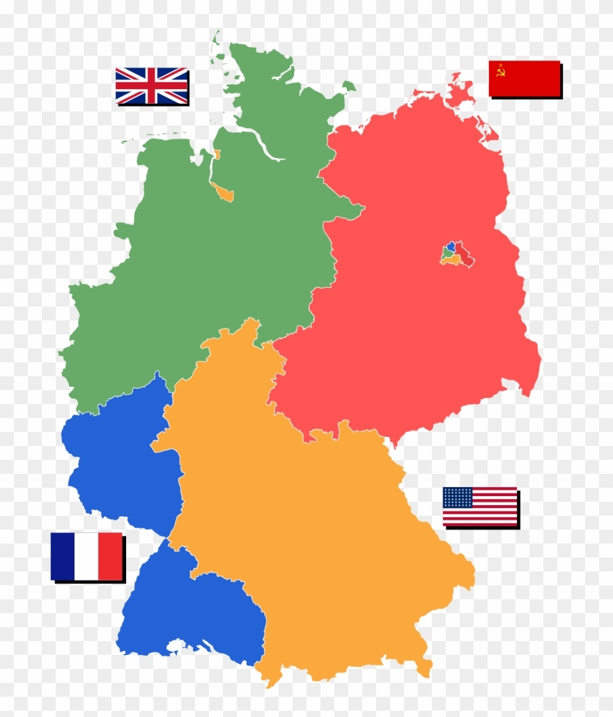 Map Of Partitioned Germany Showing The Nations In Control - Germany within Germany Map Before 1989