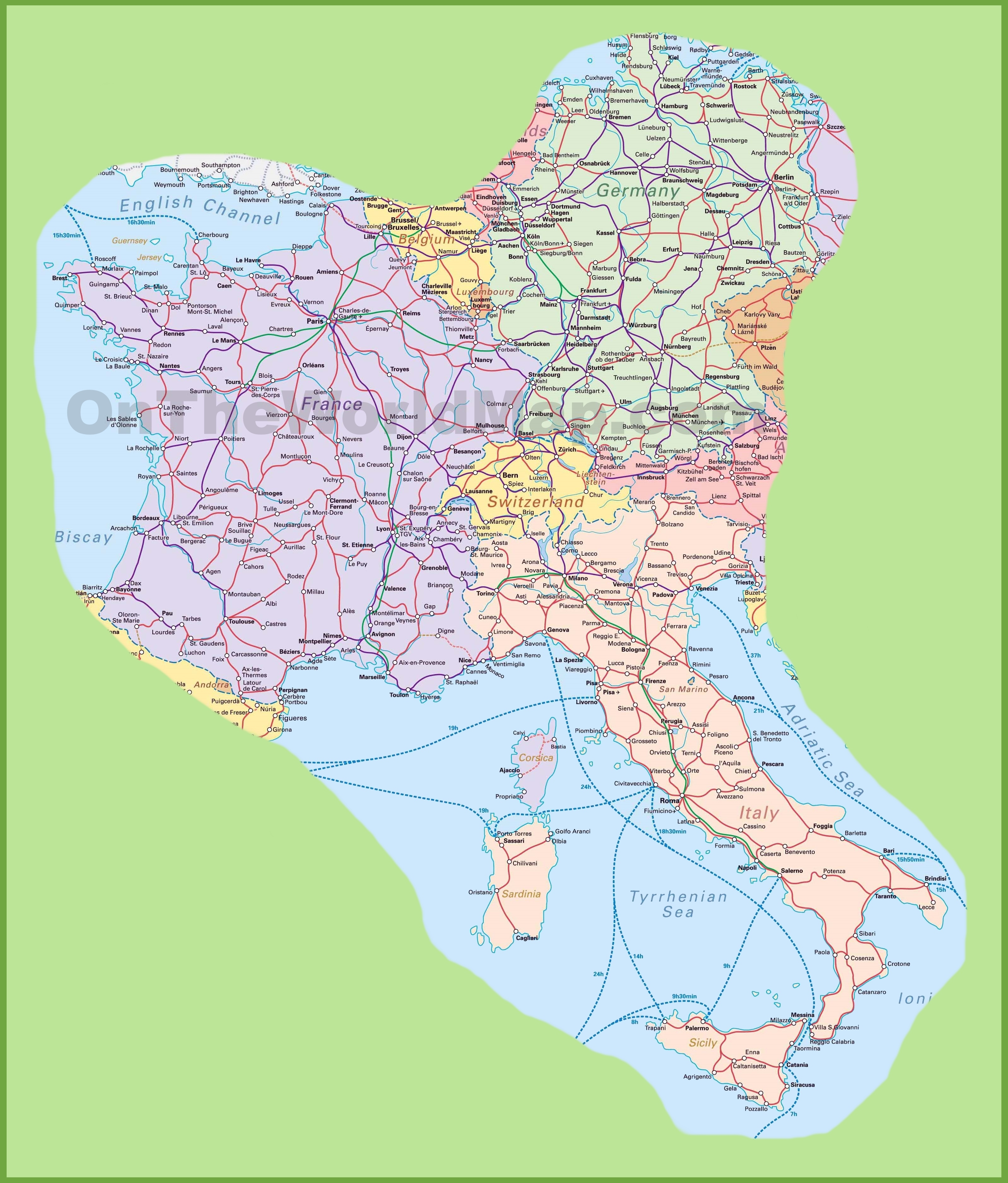 Map Of Switzerland, Italy, Germany And France for France Germany Switzerland Map