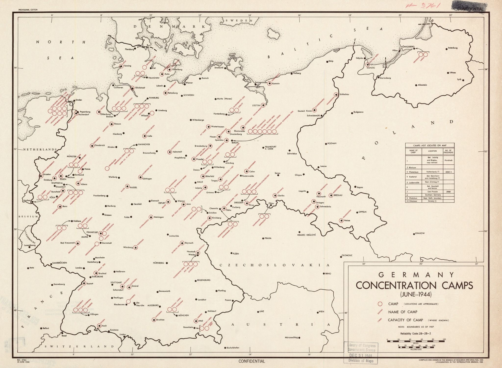 Map Of The Concentration Camps In Germany, As Knownthe Oss In throughout Map Concentration Camps In Germany