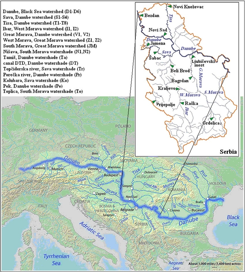 Map Of The Danube River With Sample Locations Map. | Download intended for Map Of Danube River In Germany