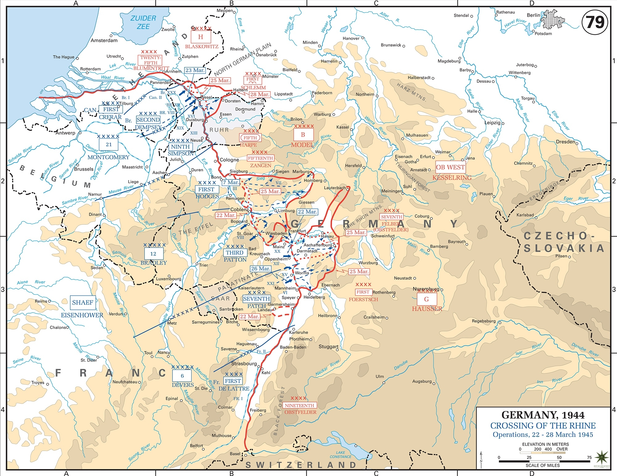 Map Of Wwii: Crossing Of The Rhine 1945 within Rhine River Germany Map