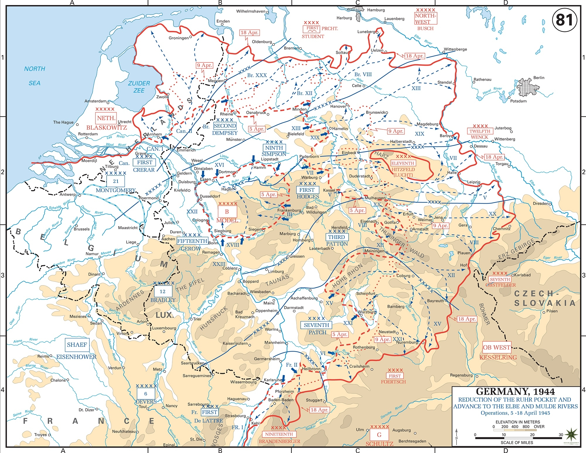Map Of Wwii: Germany April 1945 with regard to Map Of Germany After World War Ii