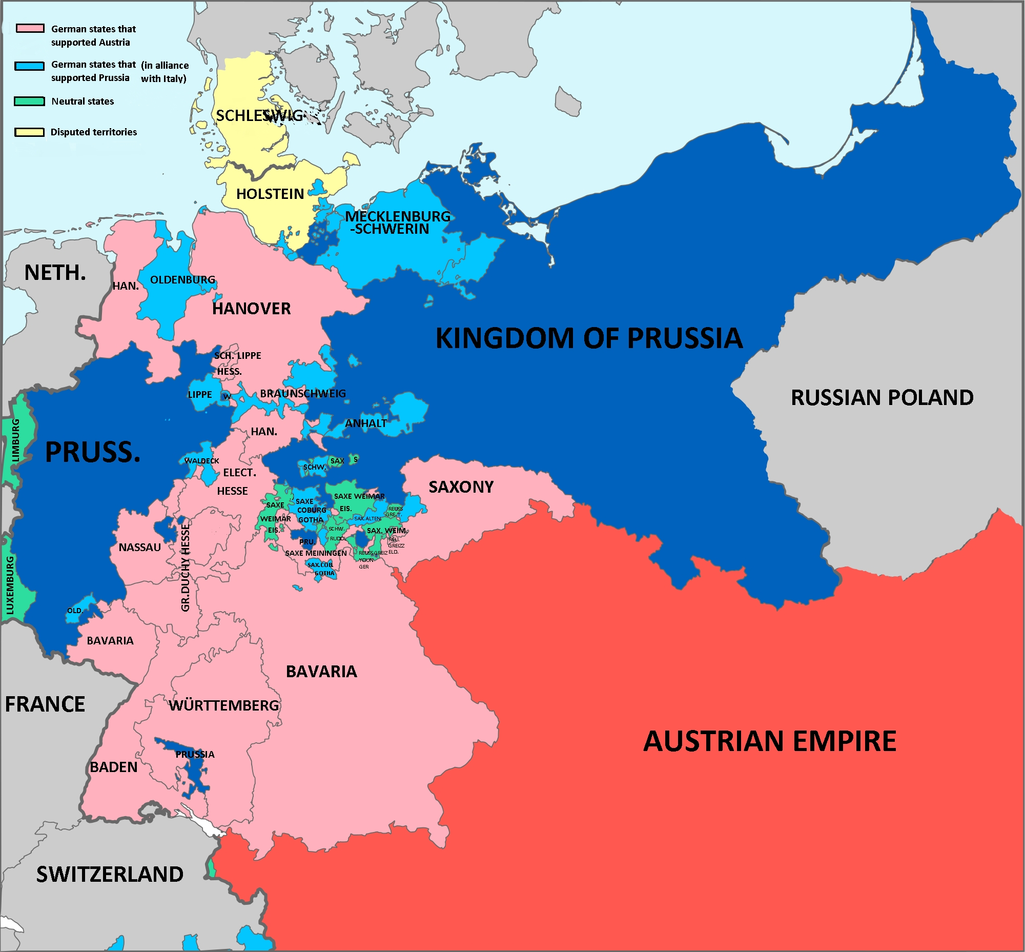 Map Showing Alliances During Austro-Prussian (German) War 1866 pertaining to Map Of German States Before Unification