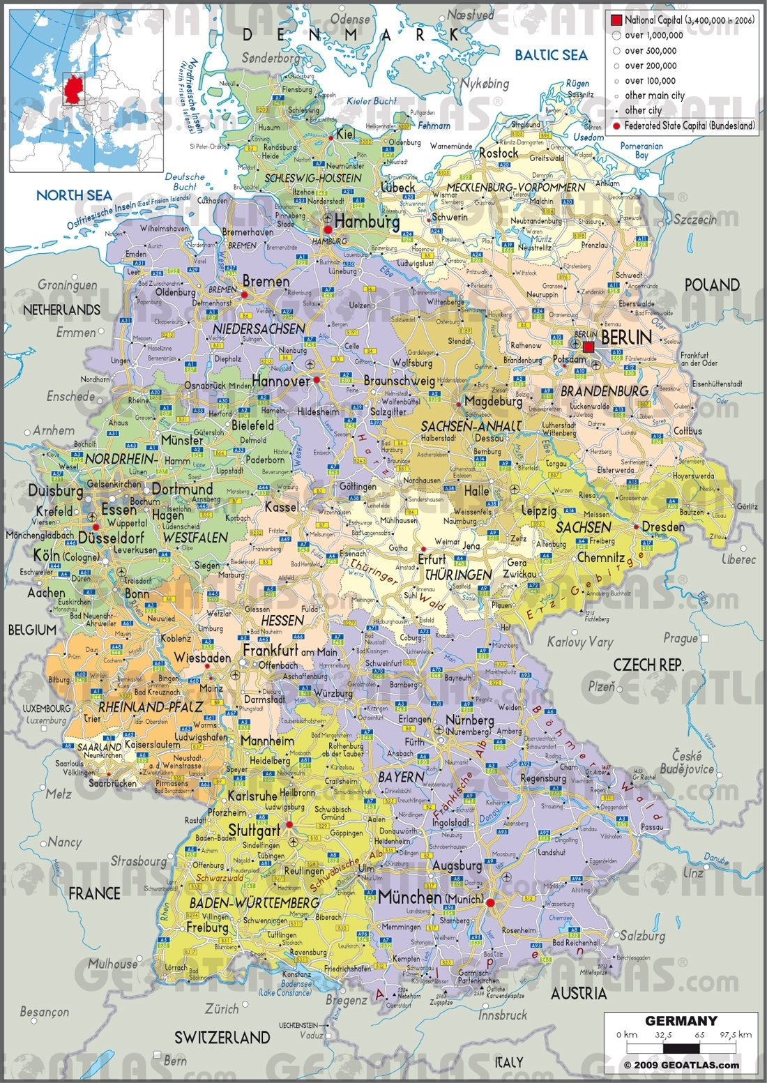 Maps Germany And Travel Information   Download Free Maps Germany intended for Germany Map Download Free