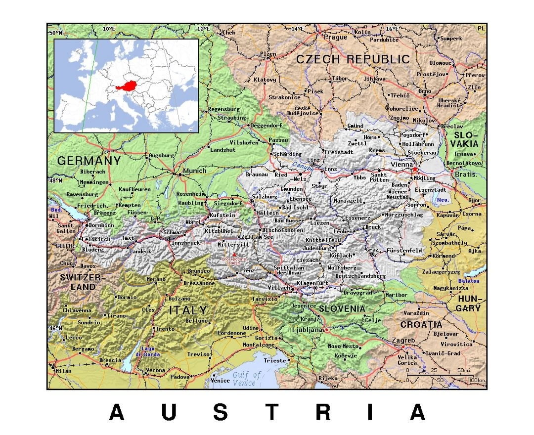 Maps Of Austria   Collection Of Maps Of Austria   Europe   Mapsland inside Map Of Germany Austria Czech Republic And Hungary