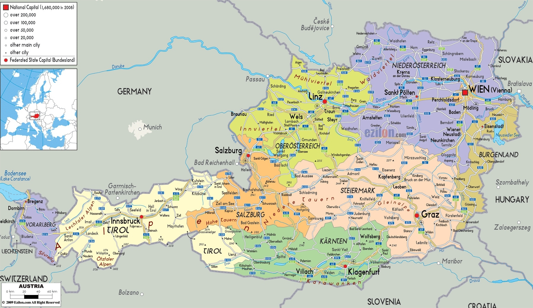 Maps Of Austria   Detailed Map Of Austria In English   Tourist Map throughout Map Of Germany And Austria With Cities