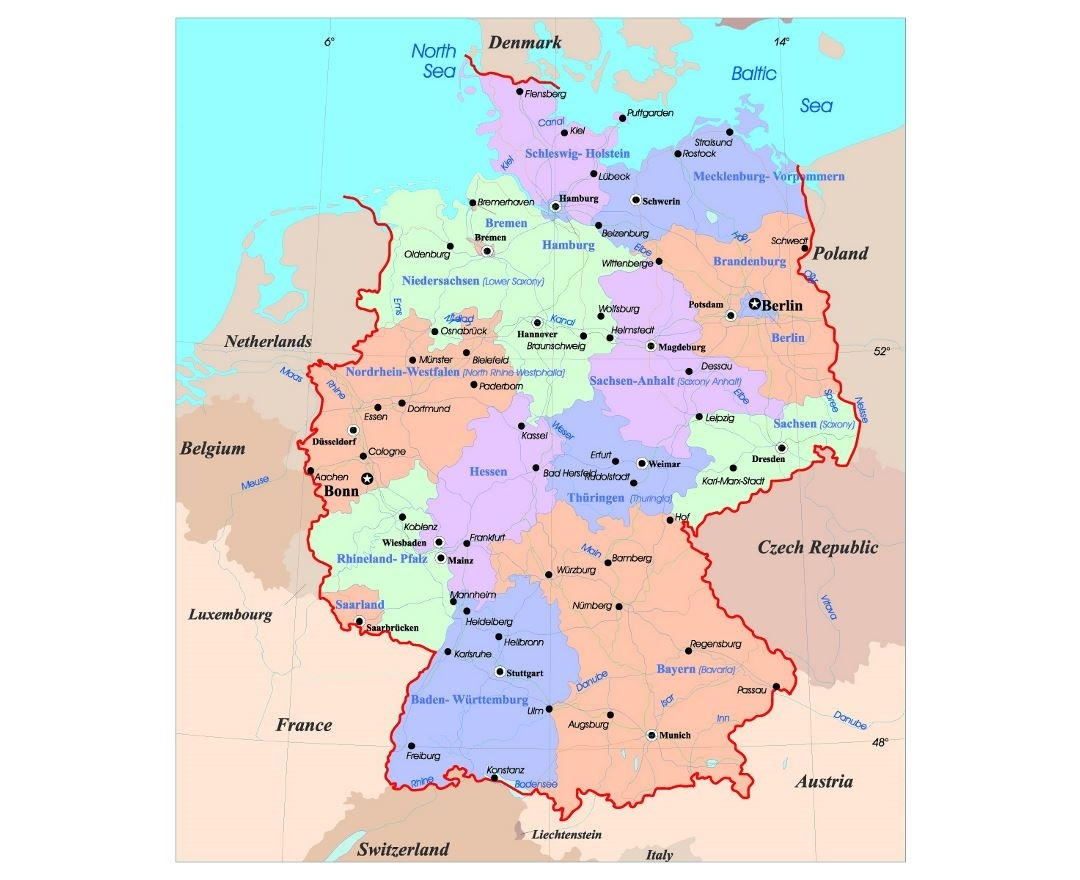 Maps Of Germany   Collection Of Maps Of Germany   Europe   Mapsland pertaining to Physical Map Of Germany In English
