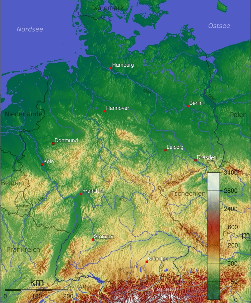 Maps Of Germany   Detailed Map Of Germany In English   Tourist Map inside Physical Map Of Germany In English