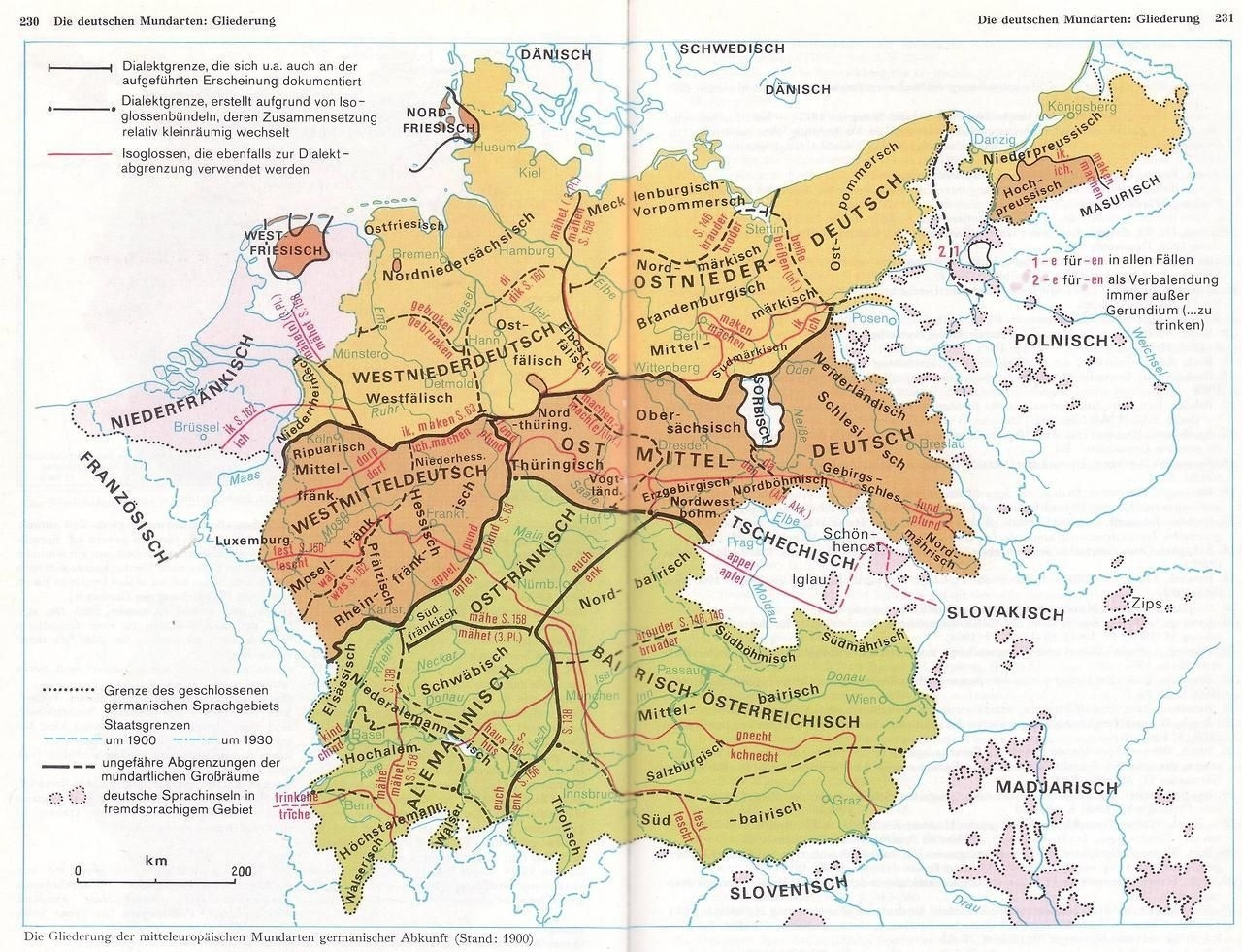 Maps On The Web — German Dialects In 1900 With Isoglosses inside German Map In 1900
