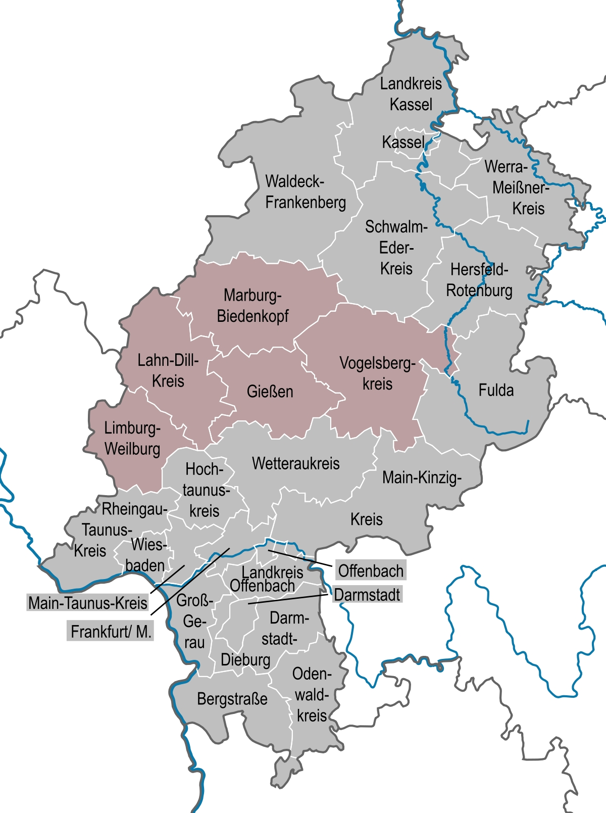 Middle Hesse - Wikipedia with Giessen Germany Map