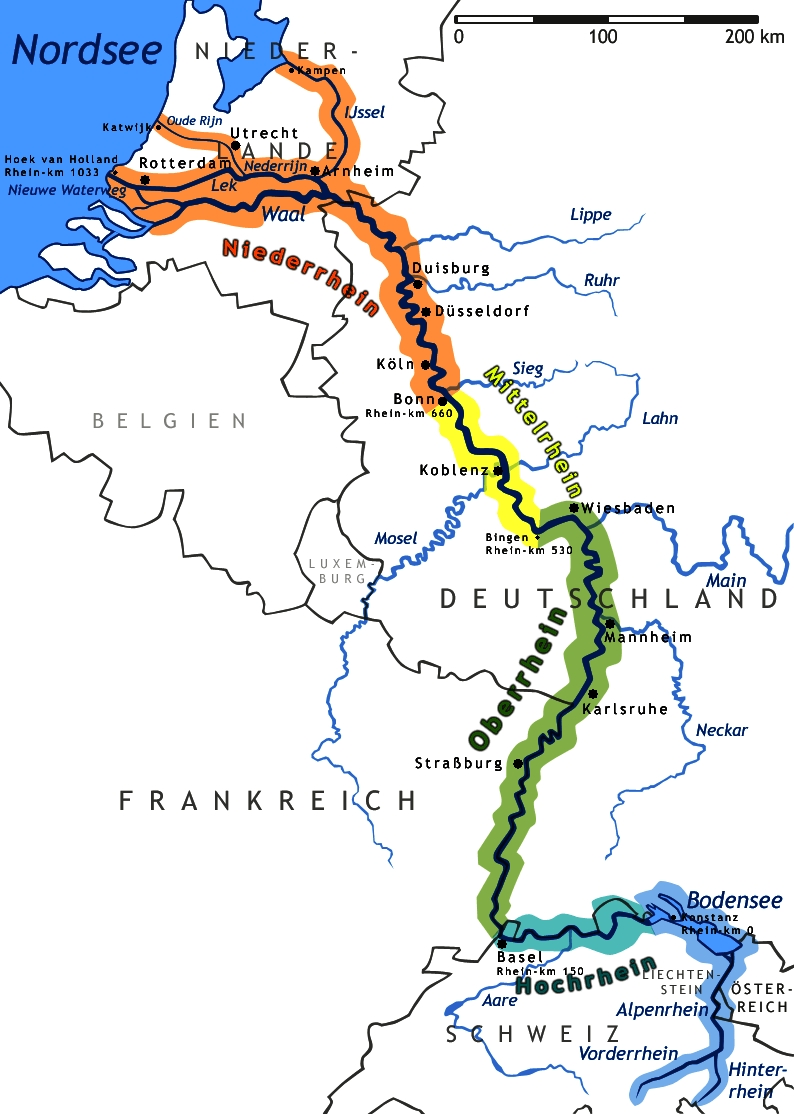 Middle Rhine - Wikipedia with Rhine River Germany Map
