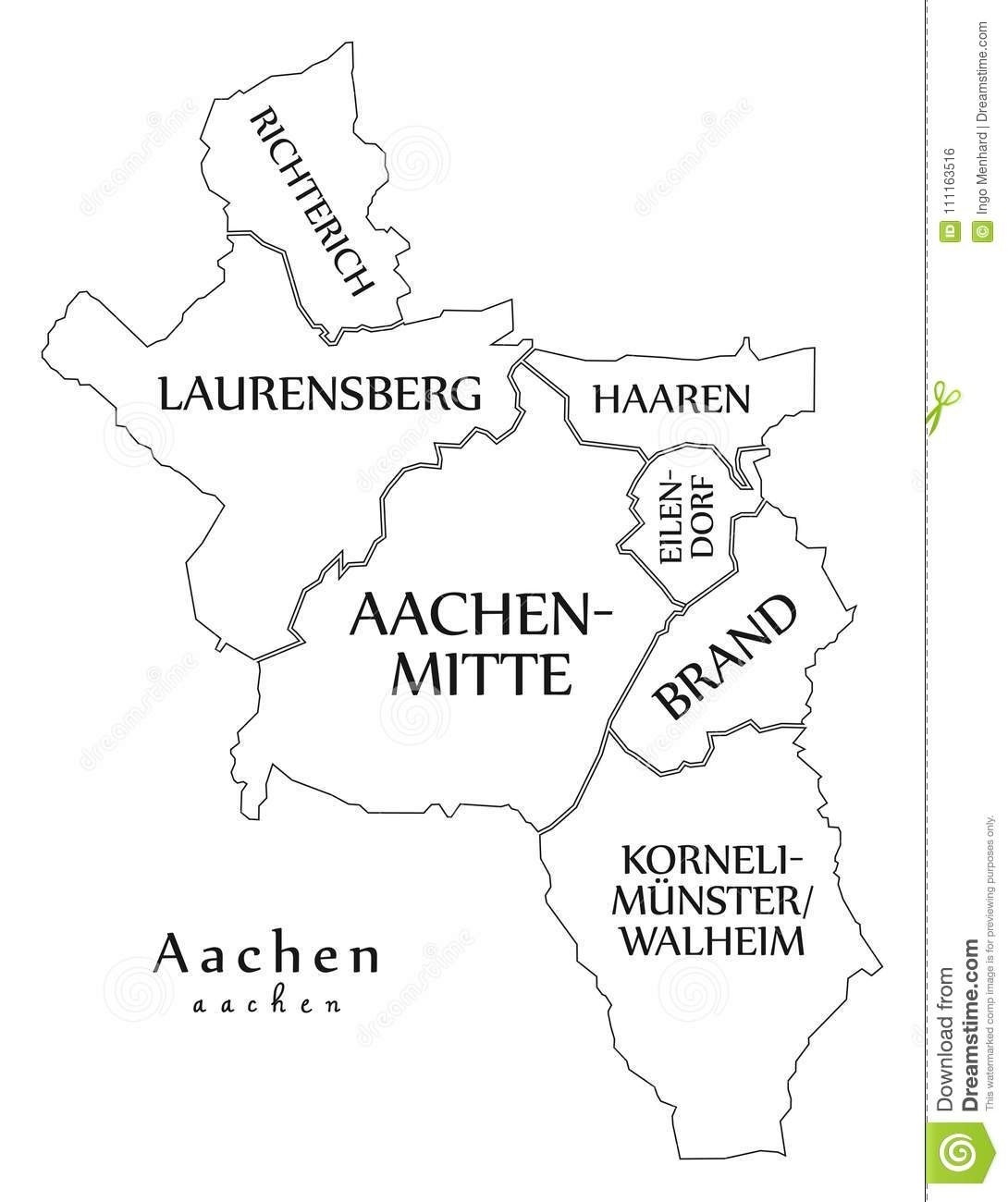 Modern City Map - Aachen City Of Germany With Boroughs And Title throughout Aachen Germany Map