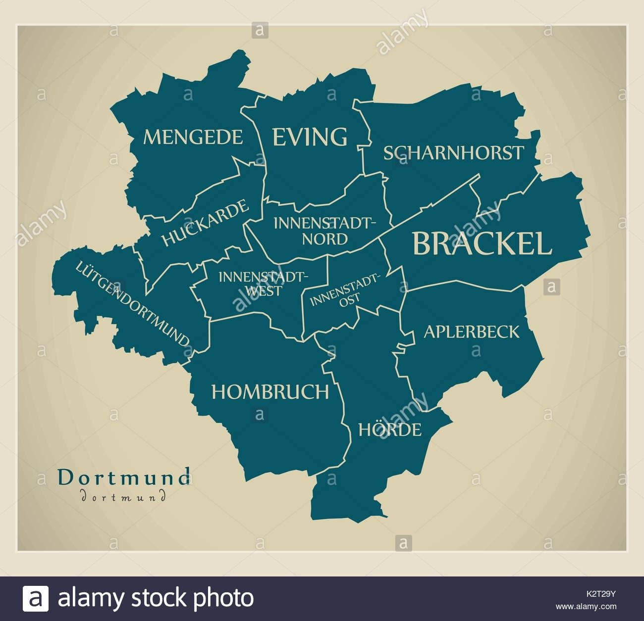 Modern City Map - Dortmund City Of Germany With Boroughs And Titles with regard to Dortmund Germany Map