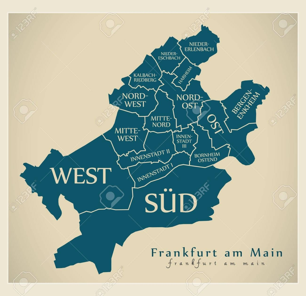 Modern City Map - Frankfurt Am Main City Of Germany With Boroughs.. intended for Frankfurt Am Main Germany Map